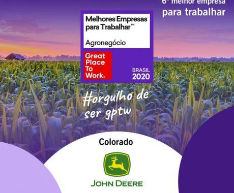 SOMOS GPTW. Colorado Máquinas está entre as seis pequenas e médias melhores empresas do agronegócio para se trabalhar no Brasil