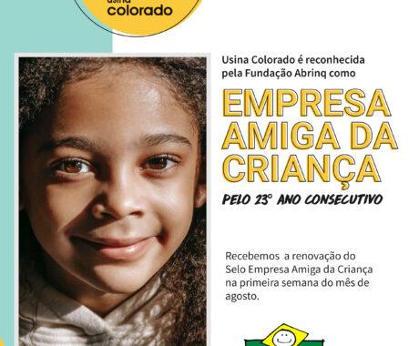 Usina Colorado é reconhecida pela Fundação Abrinq como Empresa Amiga da Criança pelo 23º ano consecutivo